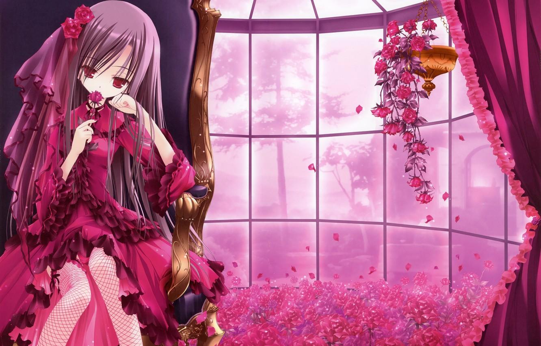 Photo wallpaper flowers, room, art, girl, tinkle