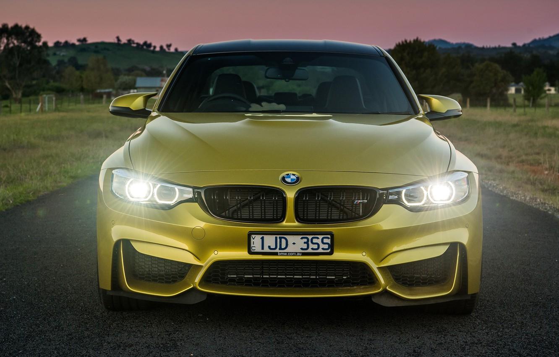 Photo wallpaper lights, the evening, sports car, BMW M4, BMW M3 F80