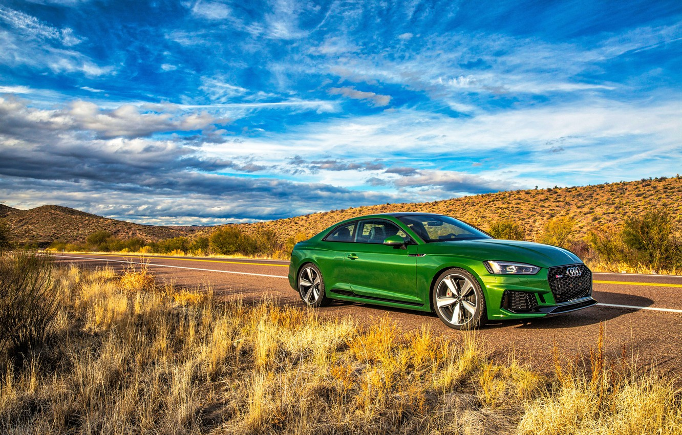Photo wallpaper road, the sky, grass, Audi, Audi, coupe, green, Coupe, RS 5