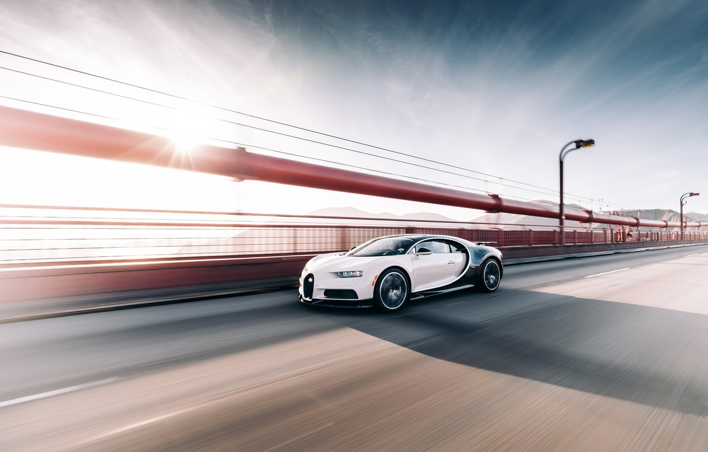 Photo wallpaper Bugatti, Black, White, VAG, Chiron