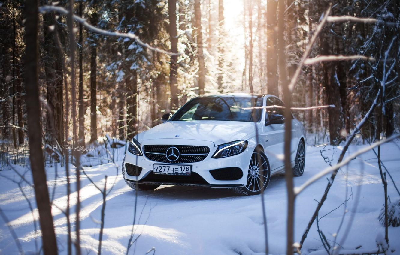 Photo wallpaper winter, car, machine, auto, city, fog, race, tale, car, red, mercedes, sports car, car, need …