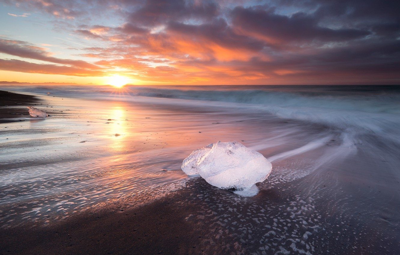 Photo wallpaper beach, the sun, nature, ice, Iceland