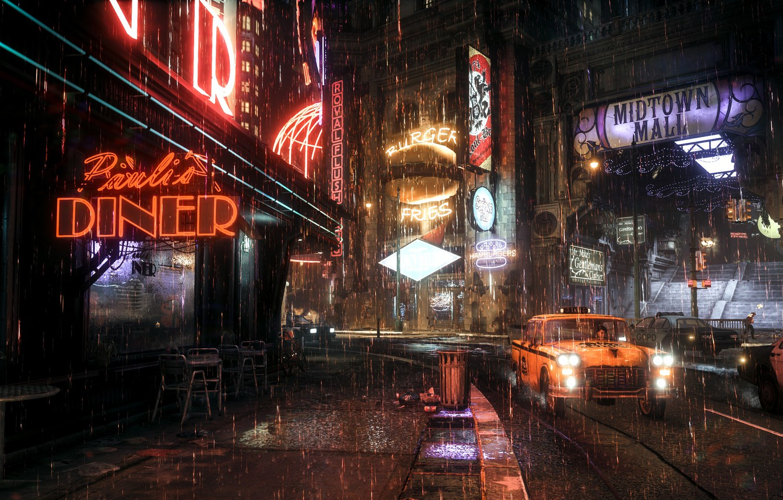 Photo wallpaper the city, rain, Rocksteady Studios, Batman Arkham Knight