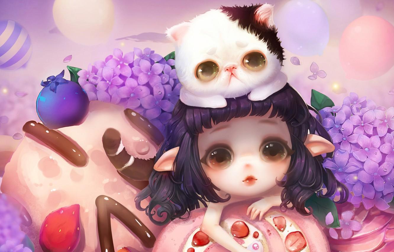 Photo wallpaper flowers, anime, art, girl, kitty, snacks, milkyu dong, Lolita cake and cat