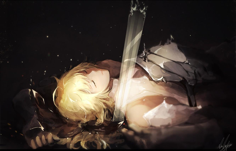 Photo wallpaper sword, art, guy, blonde
