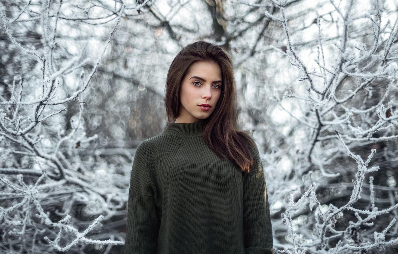Photo wallpaper winter, look, girl, sweetheart, model, portrait, colors, brunette, light, beautiful, the beauty, young, winter, cute, …