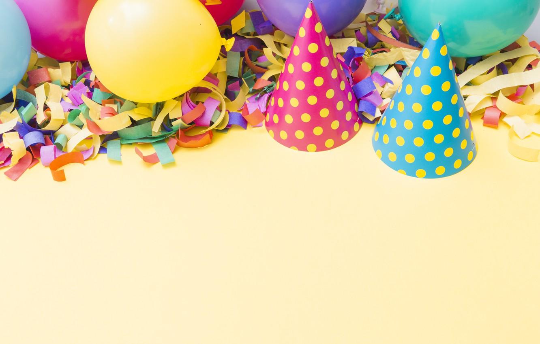 Photo wallpaper holiday, balls, beanie, Birthday