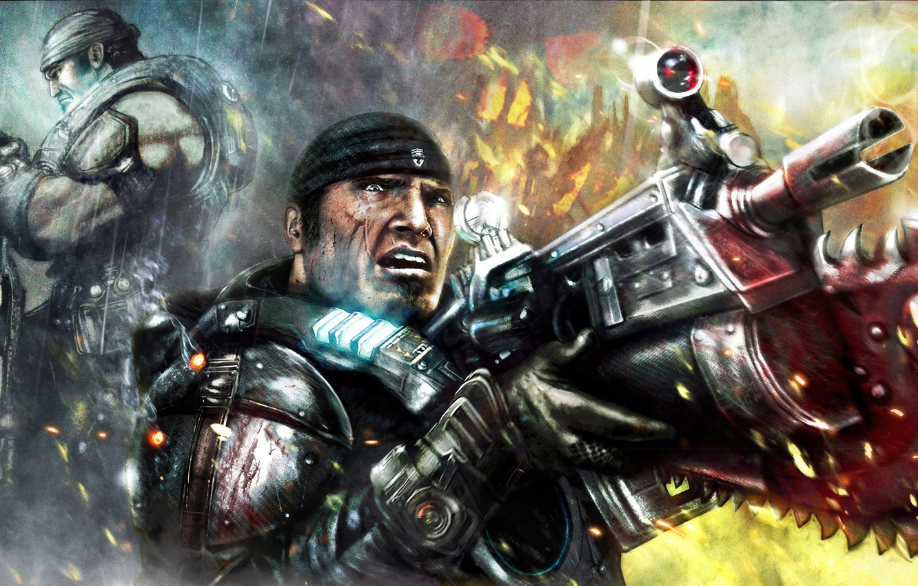 Wallpaper Face Art Soldiers Machine Saw Marcus Fenix