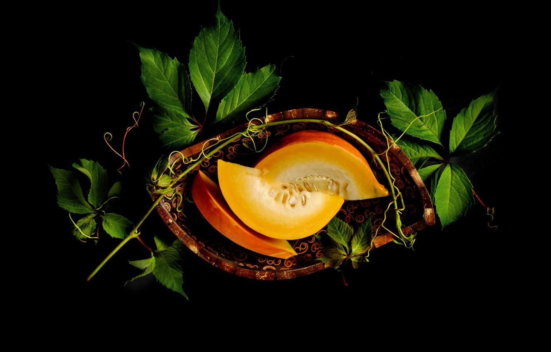 Photo wallpaper leaves, pumpkin, seeds