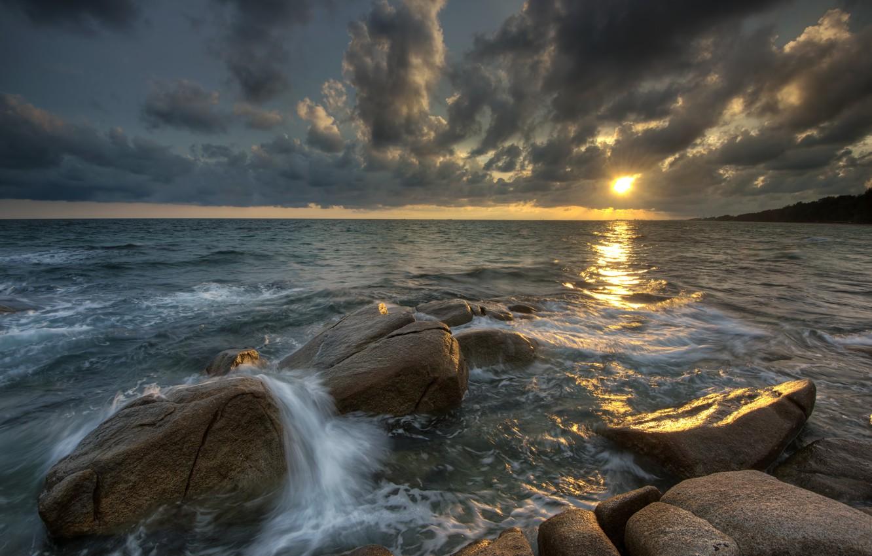 Photo wallpaper sand, sea, wave, beach, summer, the sky, sunset, stones, rocks, shore, summer, beach, sky, sea, …