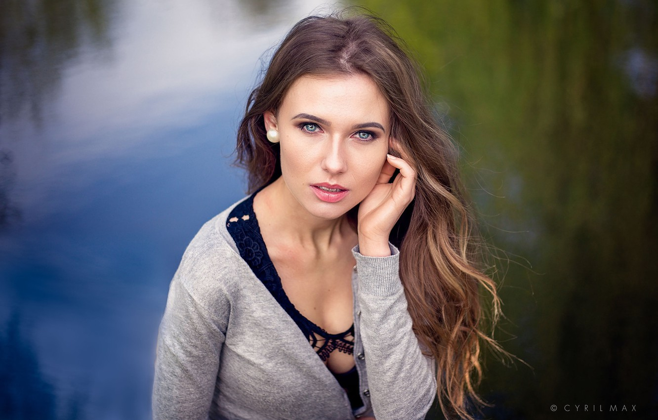 Photo wallpaper look, water, girl, background, model, portrait, makeup, hairstyle, brown hair, beautiful, jacket, Cyril Max, Misha