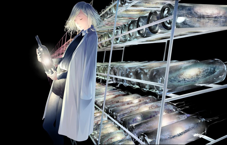 Photo wallpaper girl, lights, bottle, laboratory, store, supernova, closed eyes, in shorts, white coat, galaxy