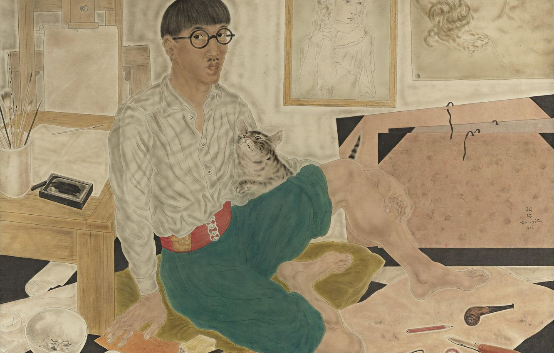 Photo wallpaper cat, paper, silk, watercolor, pictures, 1932, Tsuguharu, Fujita, Self portrait in the Studio, Japanese artist, …