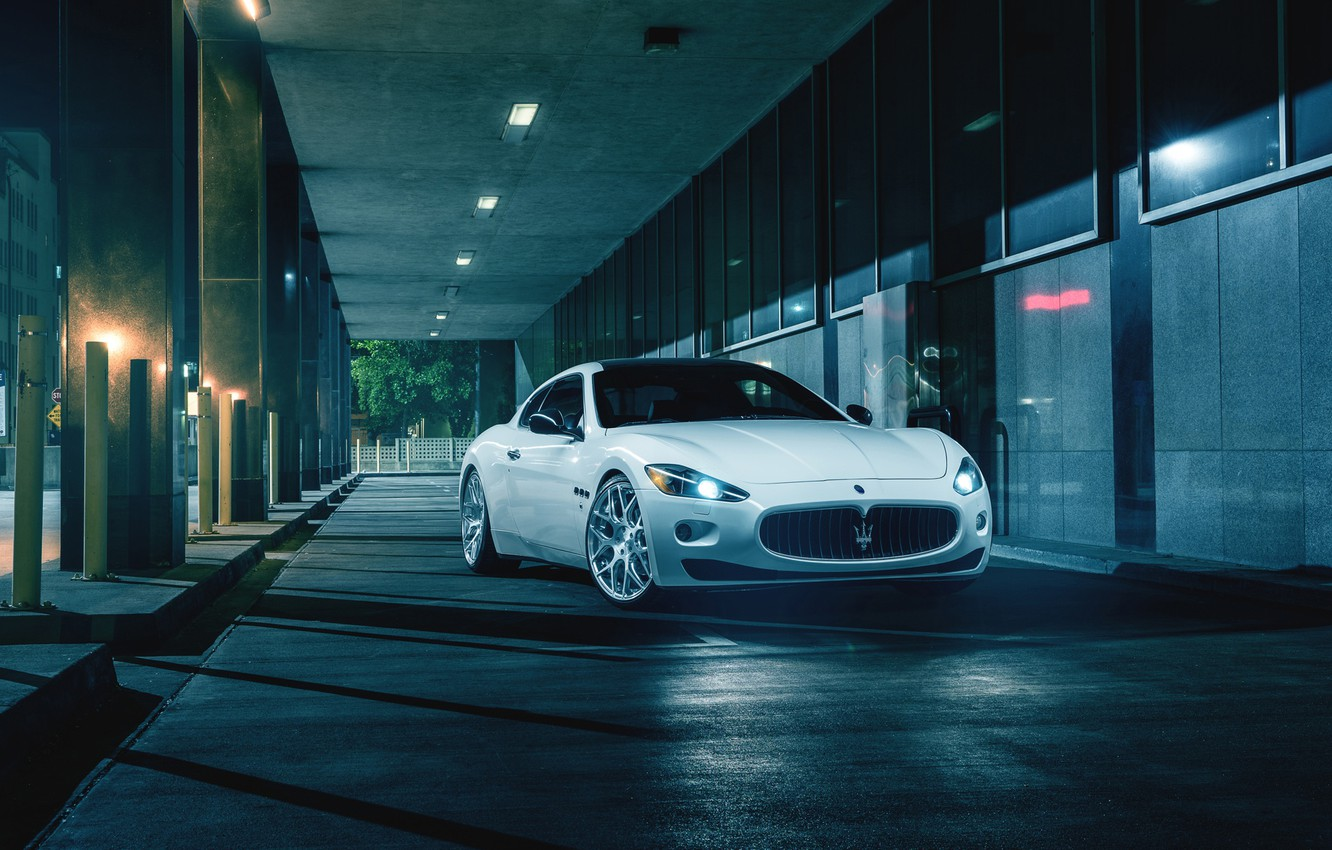 Photo wallpaper Maserati, Front, Night, Street, Supercar, Gran Turismo