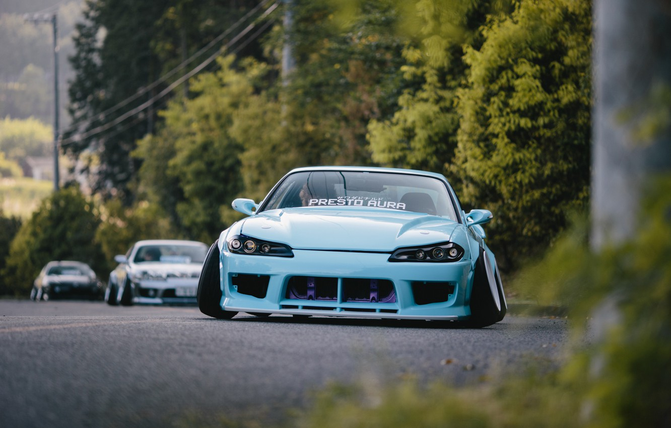 Photo wallpaper S15, Silvia, Nissan, Blue, Stance, Low, Nation