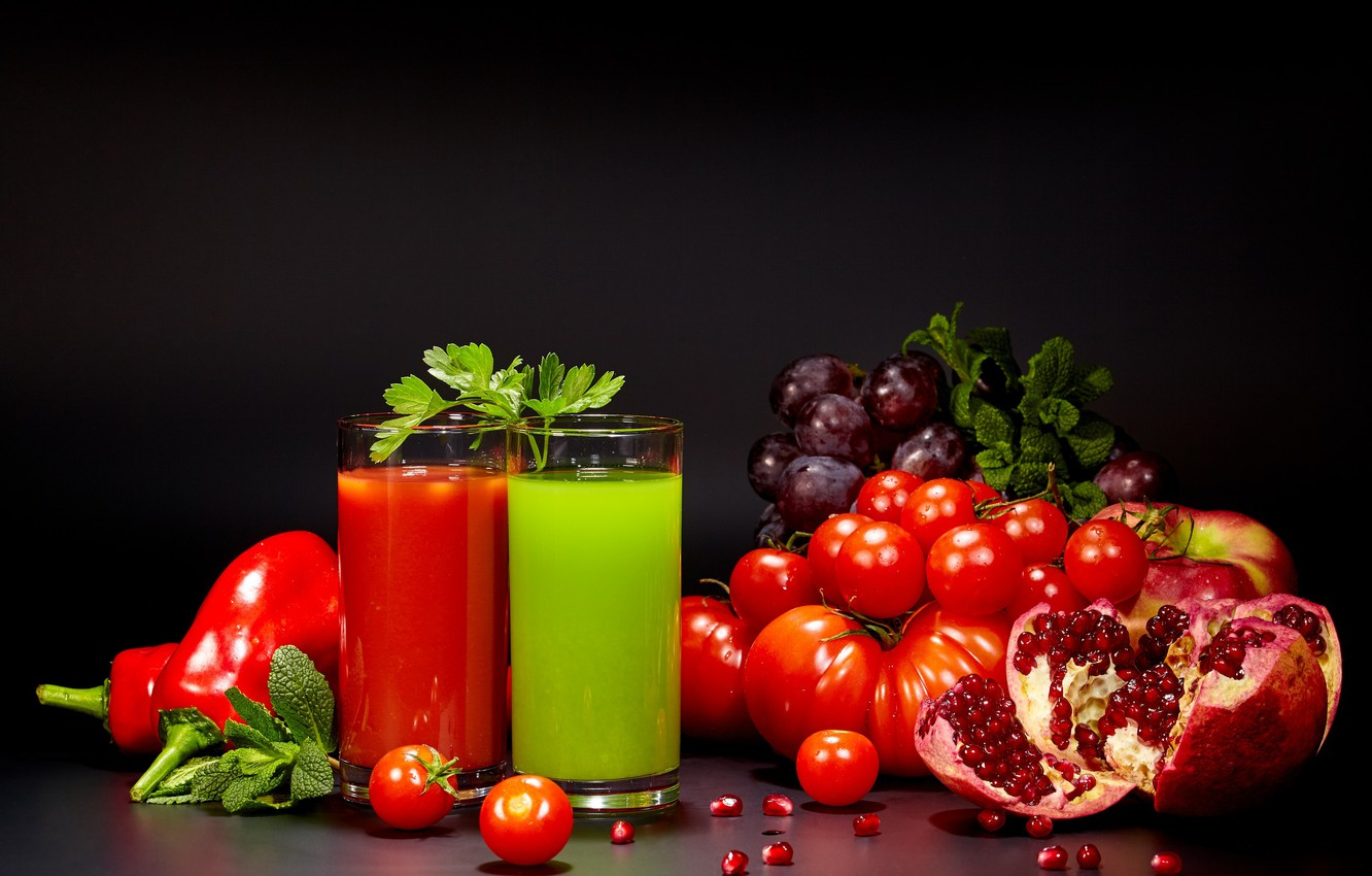 Photo wallpaper juice, pepper, vegetables, tomato, garnet