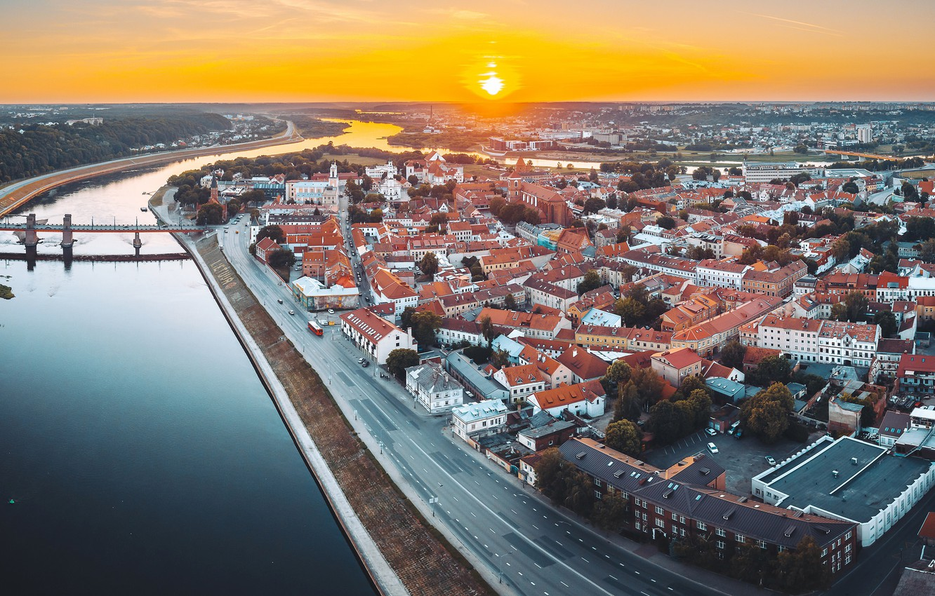 Photo wallpaper sunset, the city, Lithuania, Kaunas