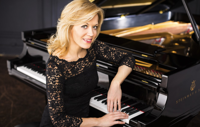 Wallpaper Smile Dress Black Blonde Beauty Piano Russia