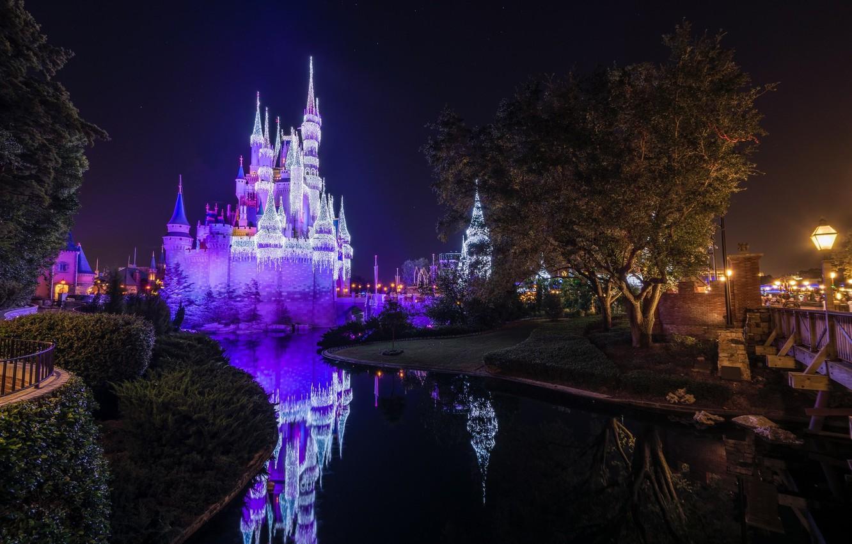 Wallpaper Night Lake Castle Disneyland Images For Desktop Section Gorod Download