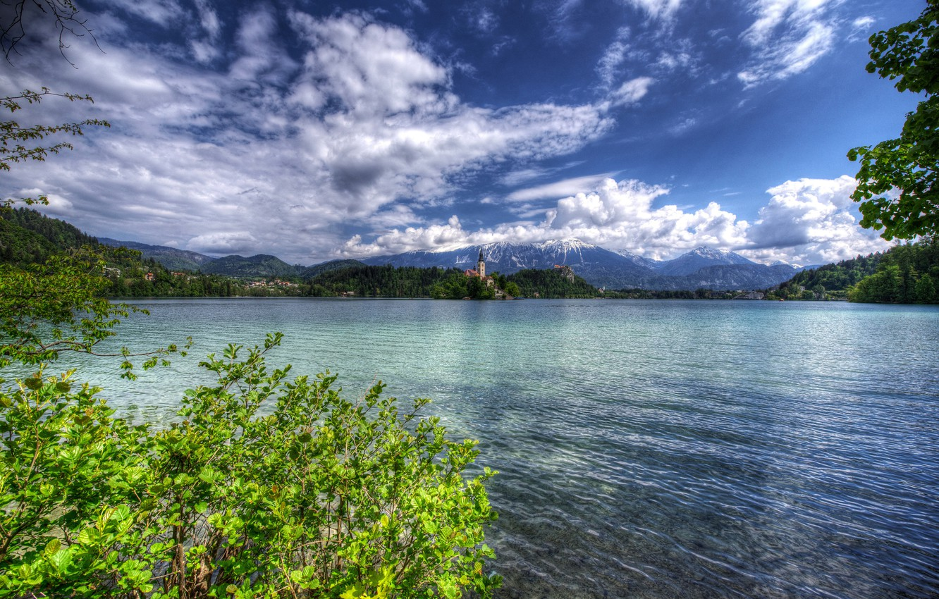 Photo wallpaper greens, forest, clouds, trees, mountains, branches, lake, shore, HDR, home, Church, island, the bushes, Slovenia, …