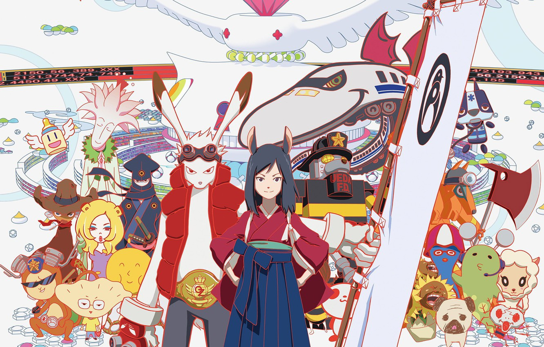 Photo wallpaper girl, robot, rabbit, anime, dog, katana, ken, blade, ninja, manga, shinobi, japanese, kimono, ninjaken, bishojo, …
