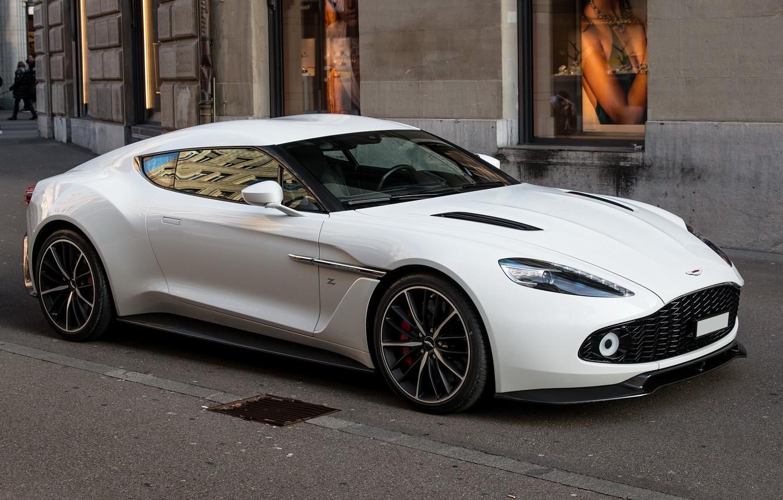 Photo wallpaper Aston Martin, White, Street, Zagato, Vanquish