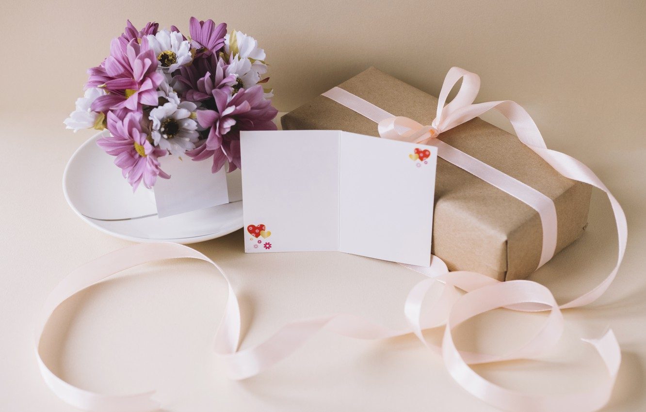 Photo wallpaper flowers, gift, bouquet, tape, love, chrysanthemum, flowers, romantic, gift, spring, purple, with love