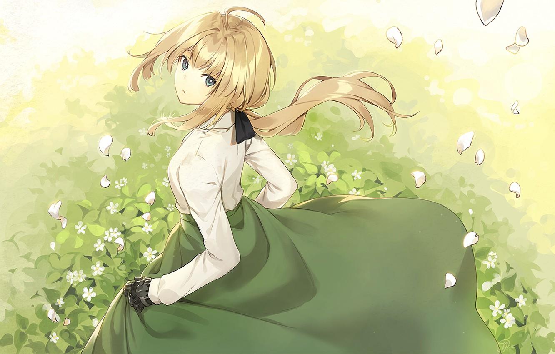 Photo wallpaper girl, grass, dress, anime, violet evergarden