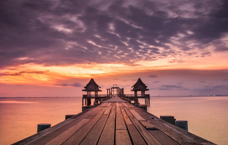 Photo wallpaper sea, beach, summer, the sky, sunset, pierce, summer, beach, sky, sea, sunset, pink, seascape, purple