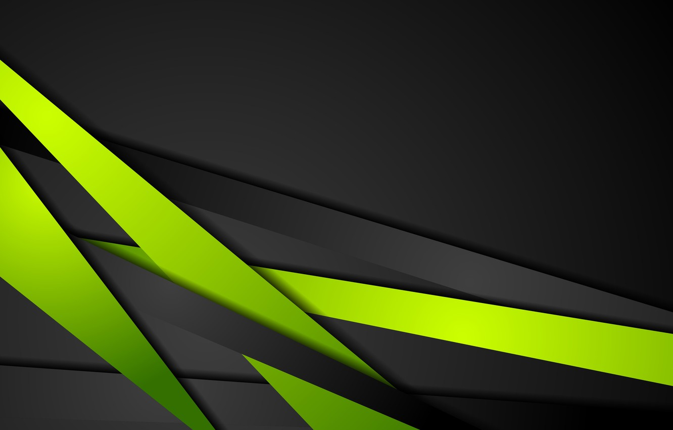 Photo wallpaper line, abstraction, green, green, vector, black, abstract, dark, black, shiny, contrast, bacground
