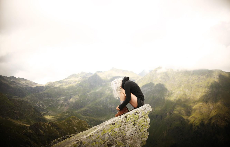 Photo wallpaper mountains, hills, blonde