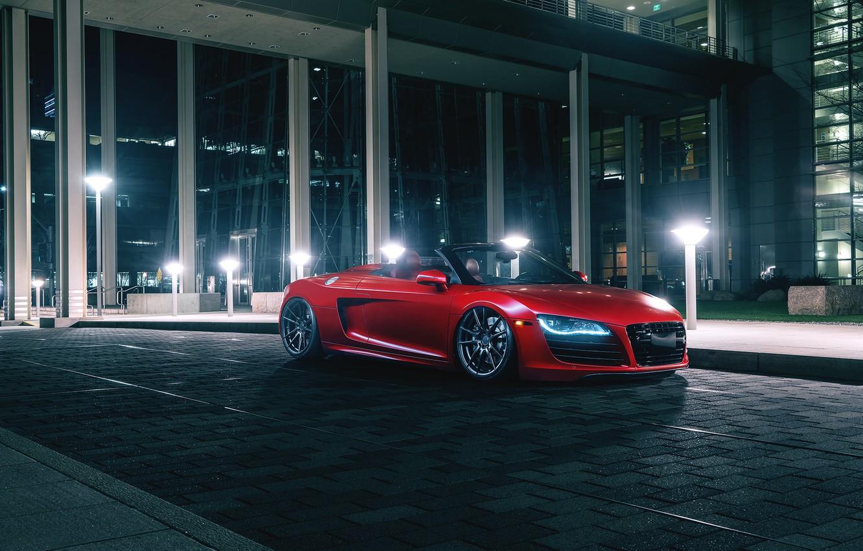 Photo wallpaper Audi, Red, Front, Spider, Wheels, Rohana
