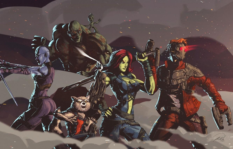 Photo wallpaper cinema, gun, weapon, movie, hero, film, mask, yuusha, Guardian of the Galaxy Vol. 2, Gaurdians ...