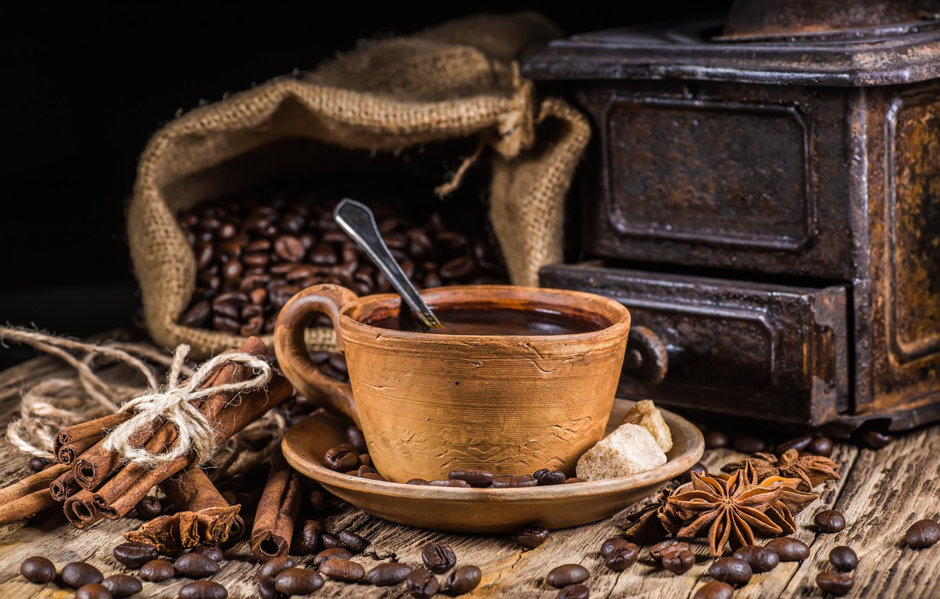 Photo wallpaper coffee, grain, Cup, hot, cinnamon, cup, beans, coffee, spices