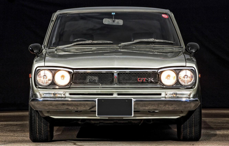 Photo wallpaper Auto, Machine, Classic, Light, Grey, Nissan, Nissan, Lights, Car, 2000, Skyline, Nissan Skyline, The front, …