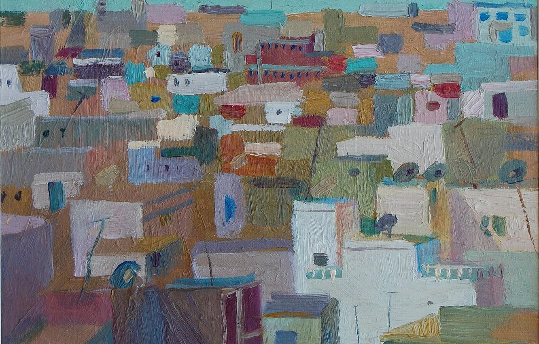Photo wallpaper the city, graphics, home, Painting, colorful, district, Svetlana Nesterova