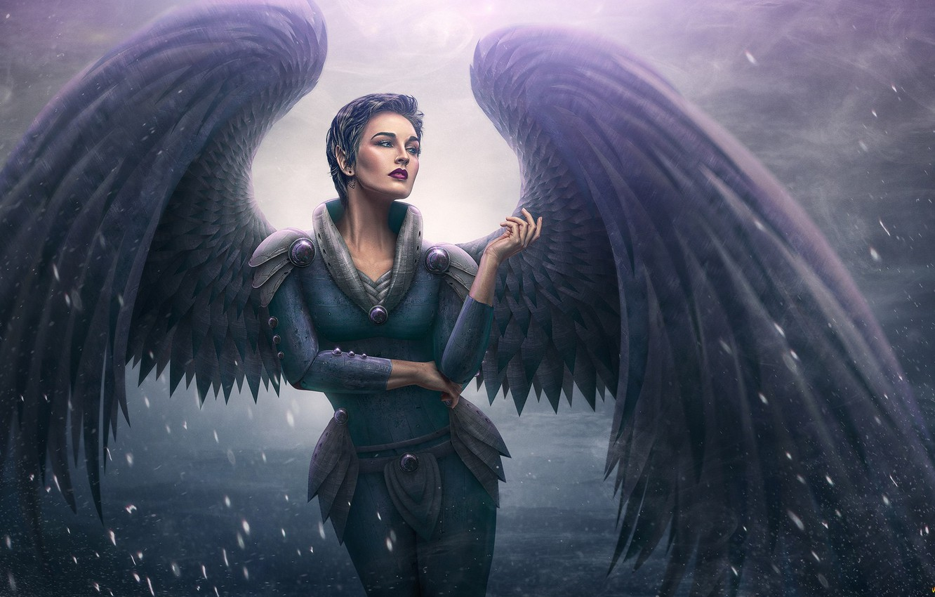Photo wallpaper woman, angel, anime, art
