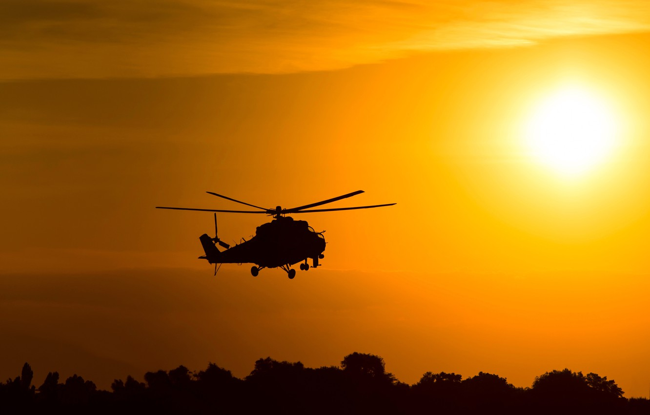 Photo wallpaper the sky, the sun, flight, dawn, spinner, silhouette, helicopter, BBC, bokeh, helicopter, Russian, Mi-24, Soviet, …