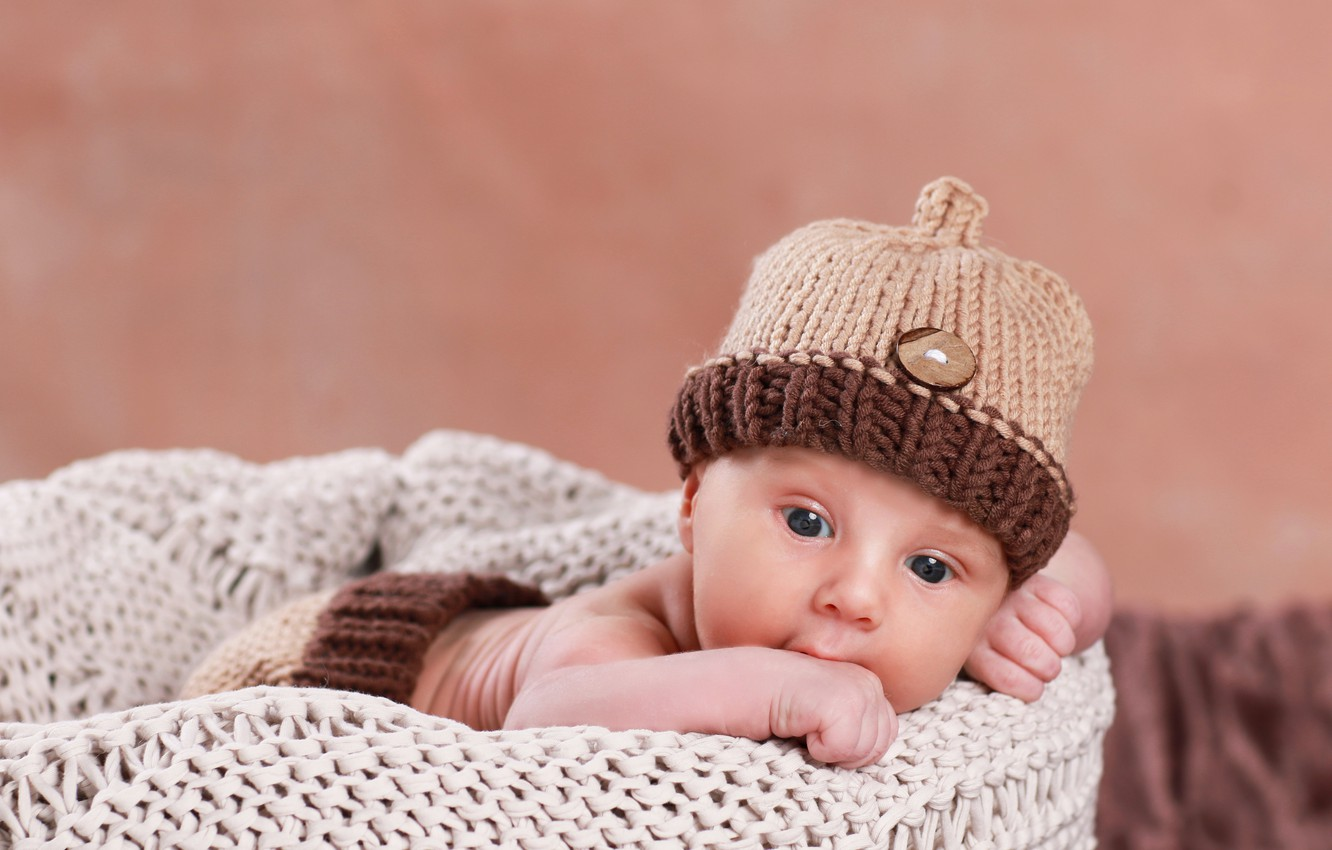 Photo wallpaper face, hat, baby, hat, baby, baby, Infants