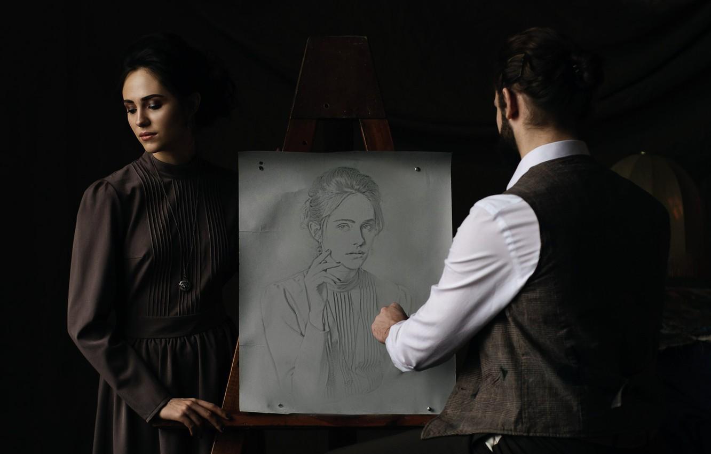 Photo wallpaper girl, figure, portrait, artist, pencil, creativity