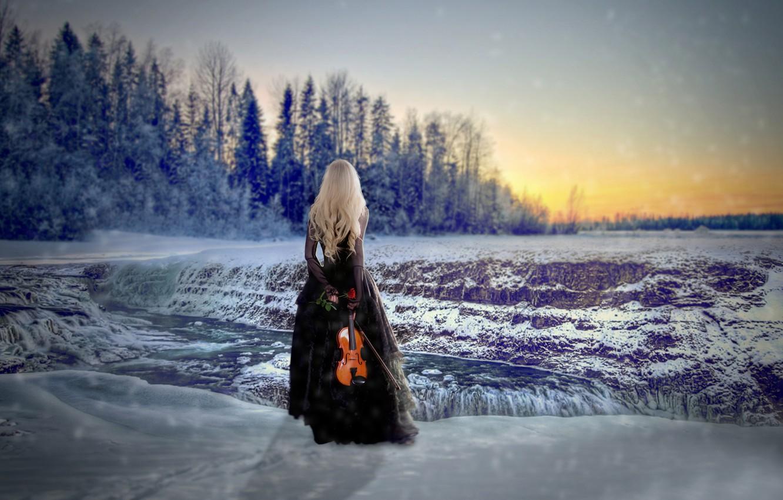 Photo wallpaper girl, snow, violin, rose, dress, Winter Solstice