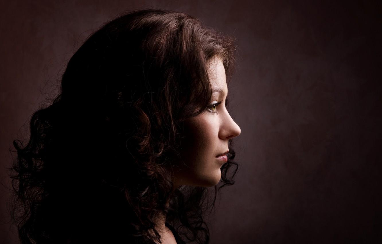 Photo wallpaper look, girl, background, hair, portrait, profile, curls