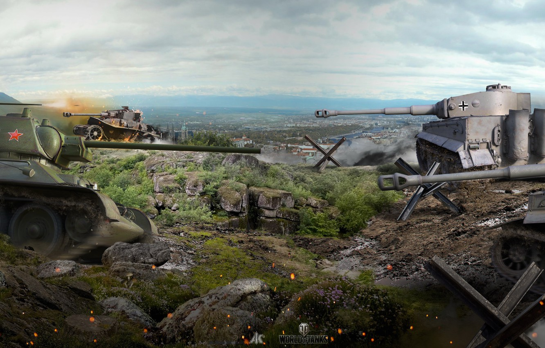 Photo wallpaper battle, panorama, the battle, tanks, T-34, World of Tanks, German, Soviet, Tiger I, WOT
