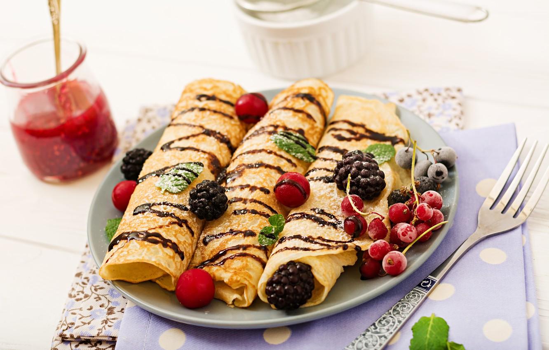 Photo wallpaper berries, chocolate, Breakfast, jam, powdered sugar, pancakes