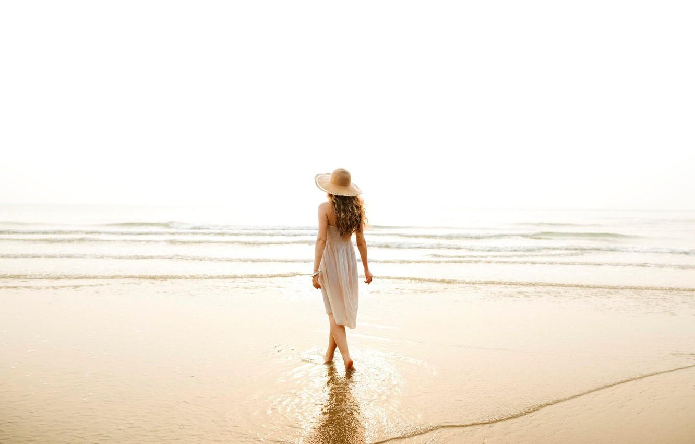 Photo wallpaper sea, water, girl, hat