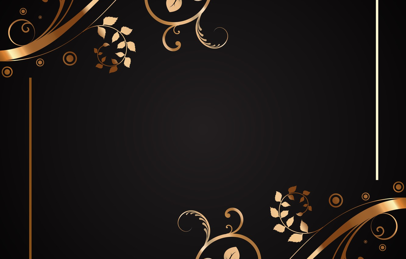 Wallpaper Flowers Pattern Texture Gold Black Floral Images