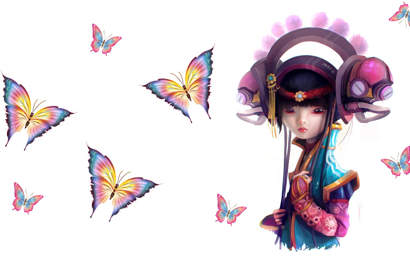 Photo wallpaper butterfly, fantasy, art, costume, girl, Daniel Orive, Etsuko project _ Behind the pixels Book