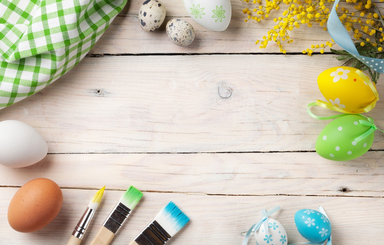 Photo wallpaper flowers, Easter, wood, spring, Easter, eggs, decoration, Happy, Mimosa