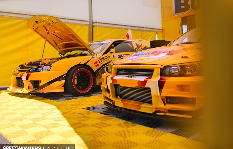 Photo wallpaper yellow, race, Nissan, drift car