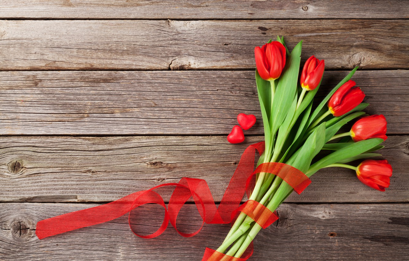 Photo wallpaper love, flowers, gift, bouquet, hearts, tulips, red, love, wood, flowers, romantic, hearts, tulips, Valentine's Day, …